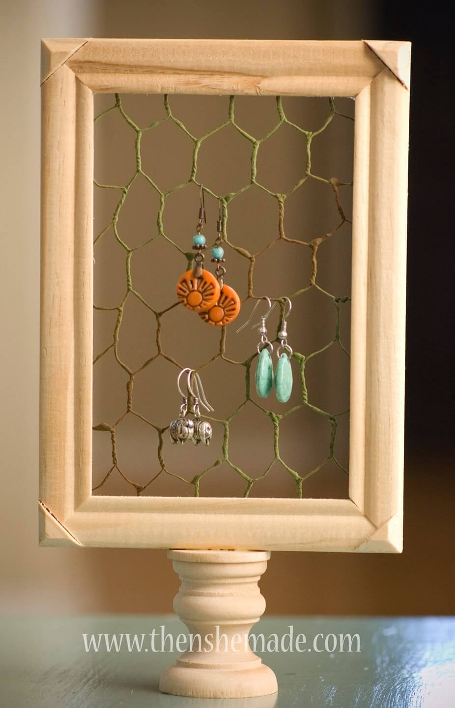 Easy Earring Holder with Chicken Wire