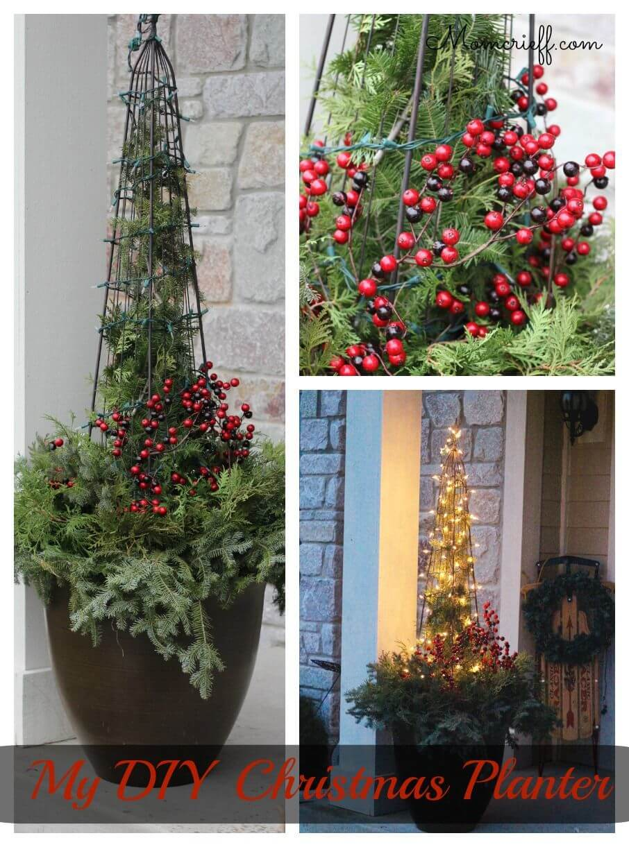 34 Festive Outdoor Holiday Planter Ideas To Decorate Your Front Porch For Christmas Rina Watt Blogger Home Decor Diy And Recipes