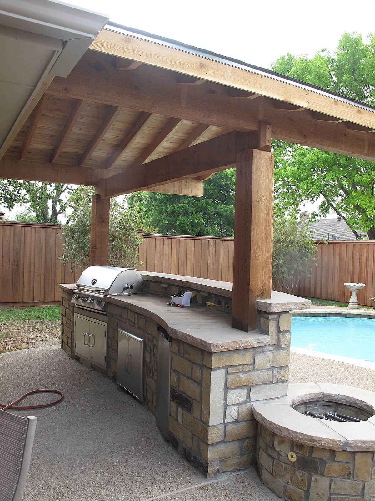 Stone Bar with Grill and Fire Pit