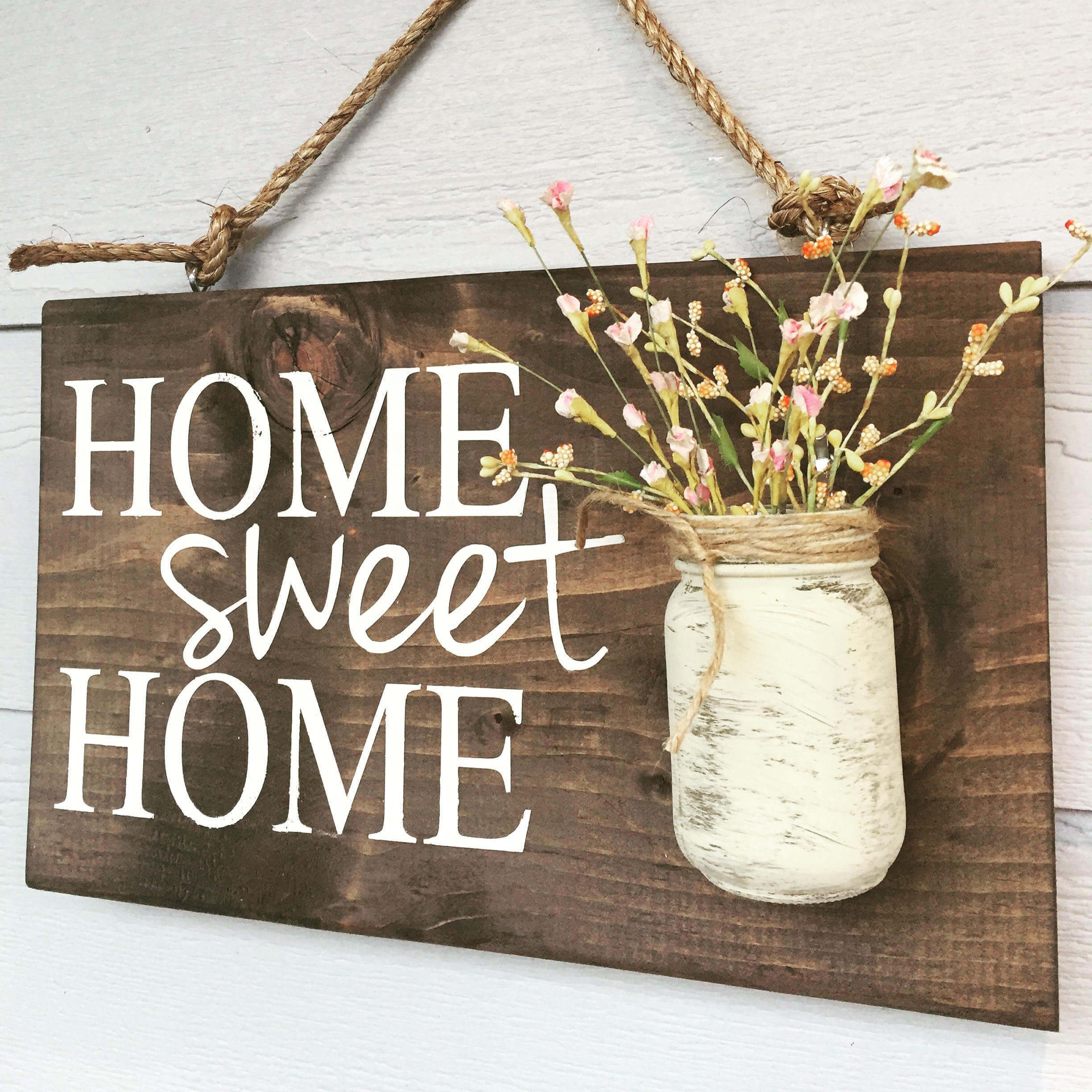 Home Sweet Home Sign with Mason Jar Vase