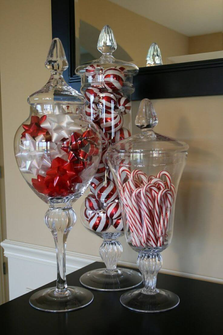 Candy Cane Themed Apothecary Jars