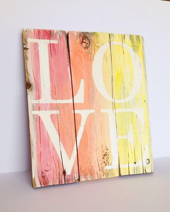Rainbow Hued Wood LOVE Plaque