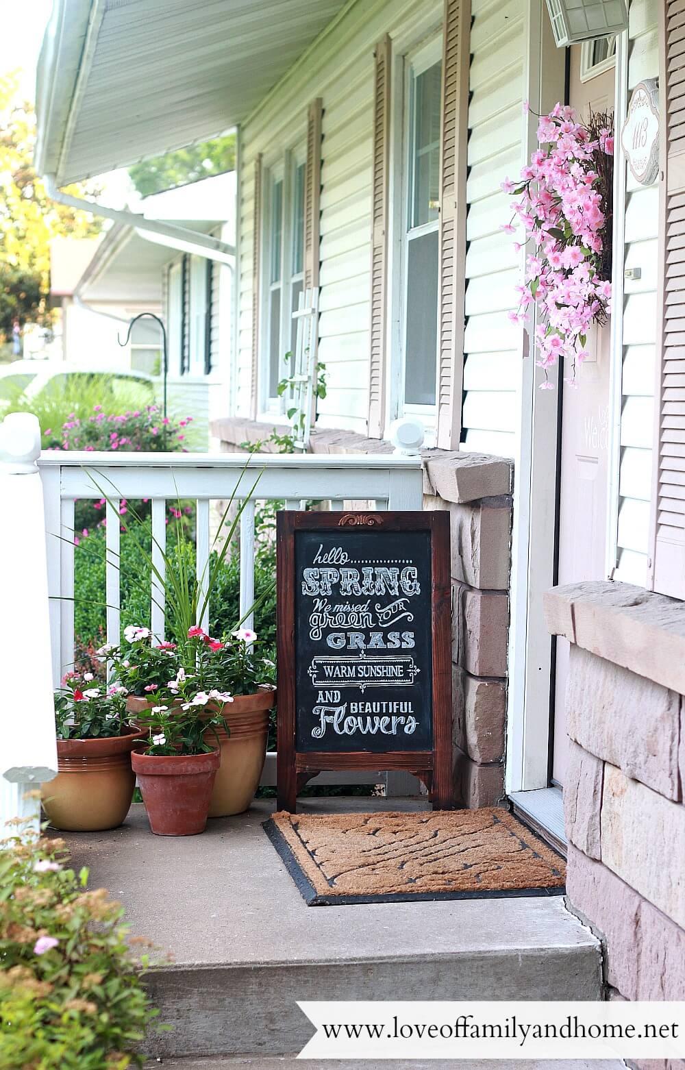 Chalkboard Sandwich Sign and Oversized Flower Pots