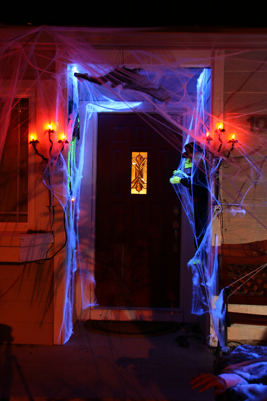 Spooky blue Halloween door