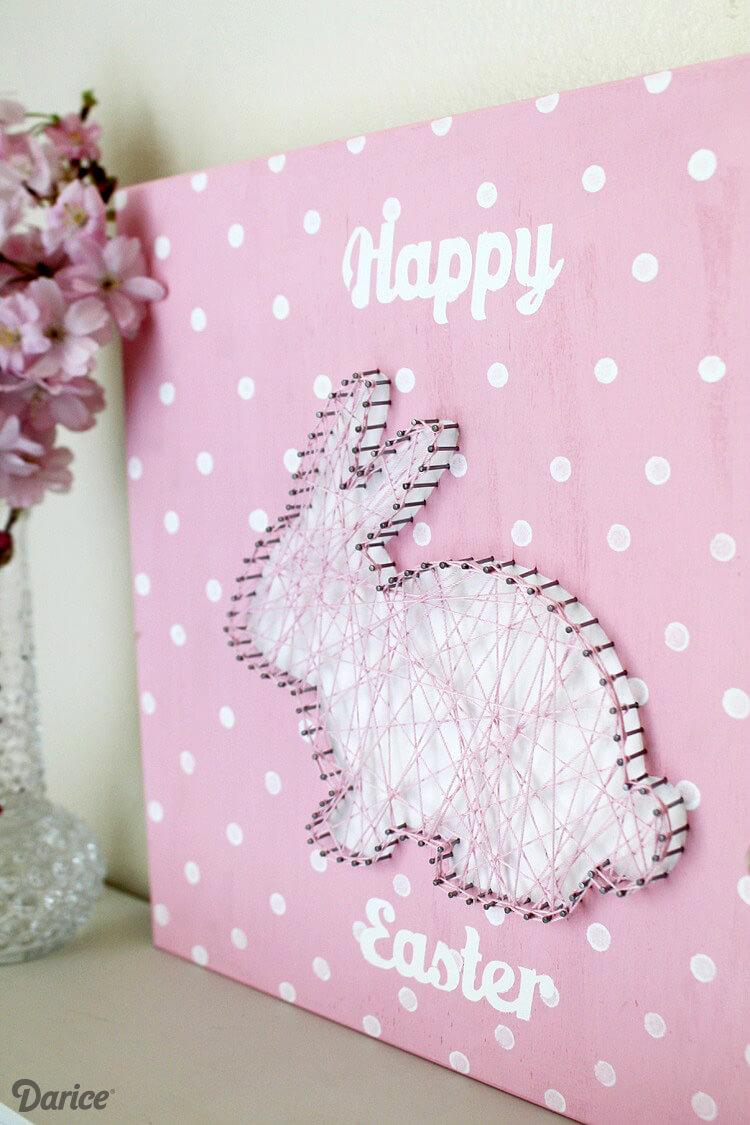 Fluffy Bunny String Art Sign