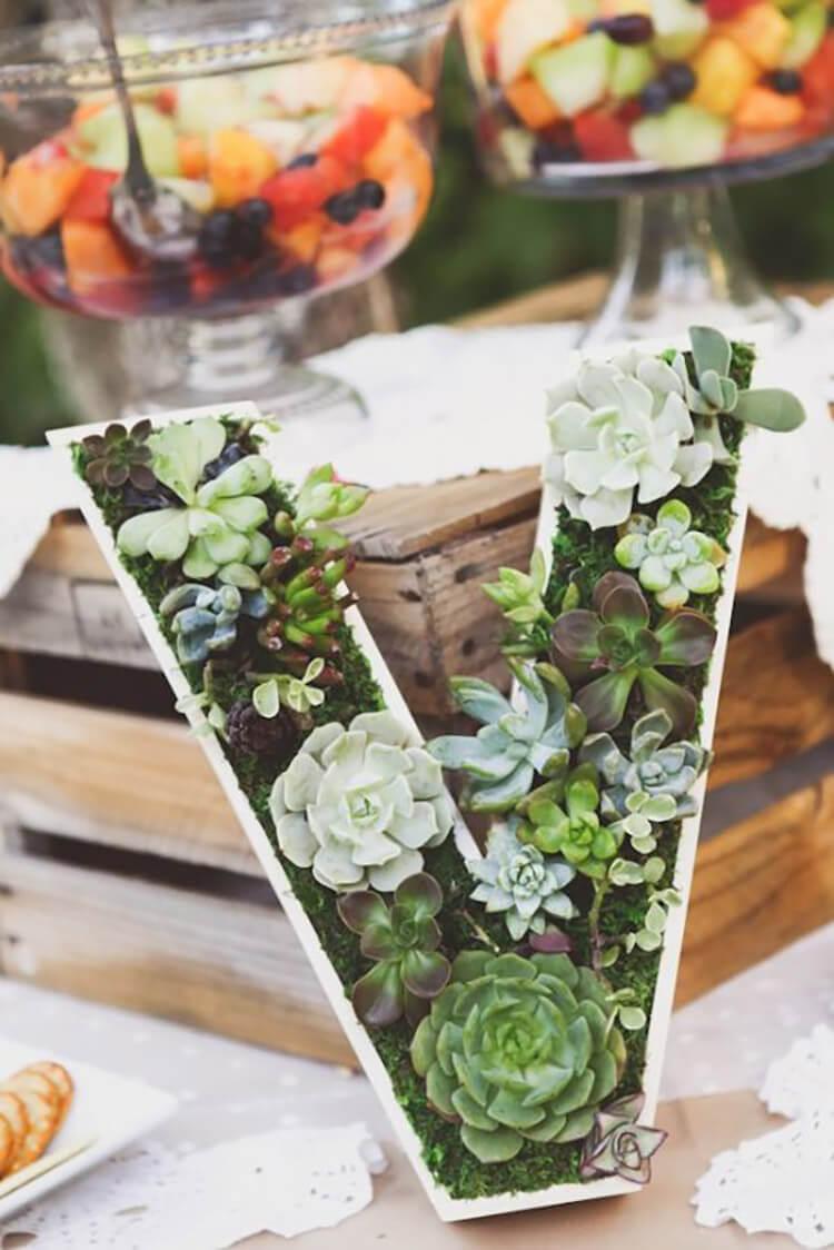 Pretty Monogram Succulent Planter Decoration