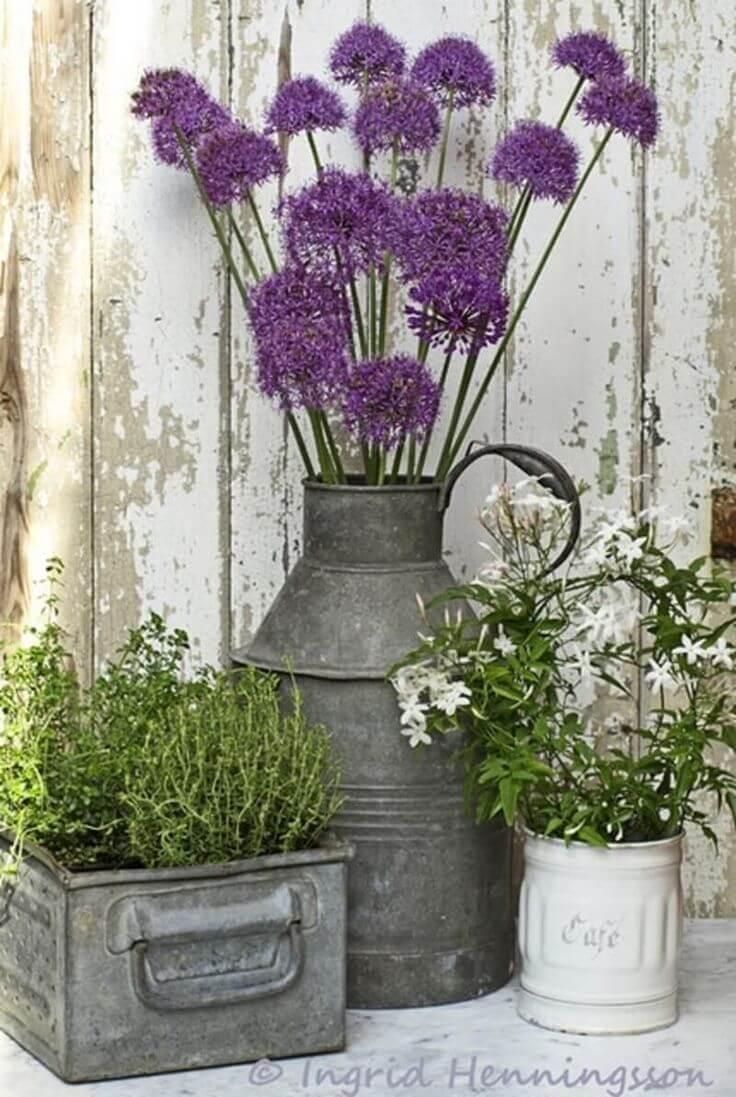 Galvanized Steel with Prairie Wildflowers