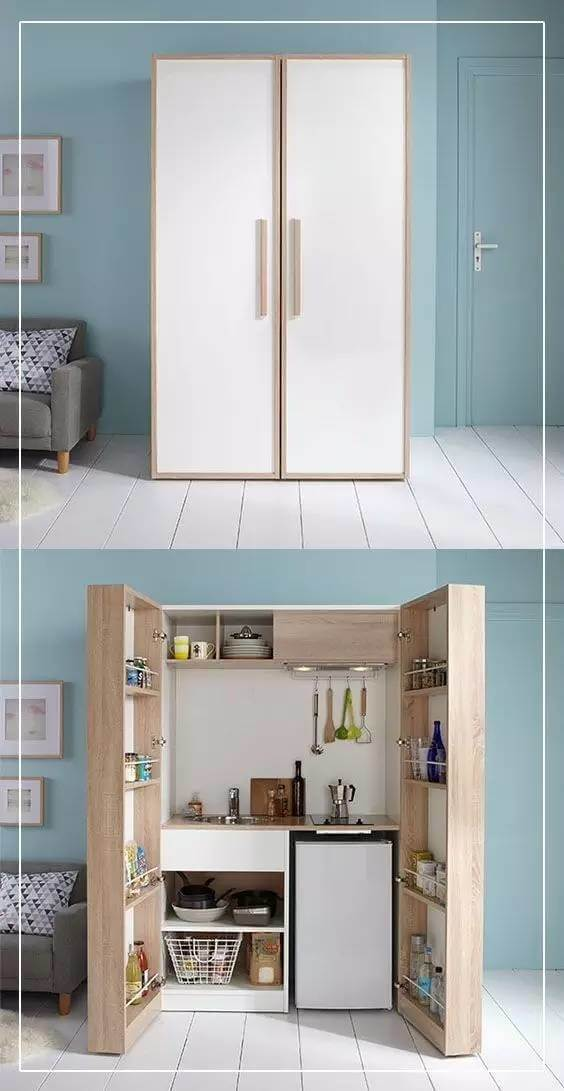 Micro Kitchen Hidden in a Cabinet