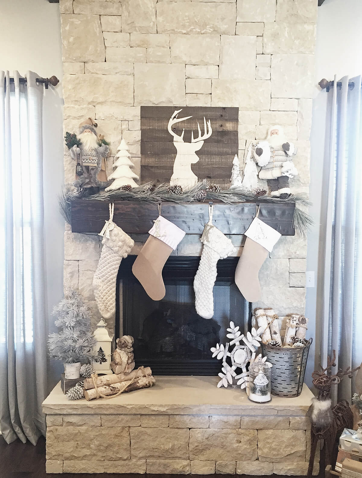 Mismatched Neutrals Create a Rustic Display