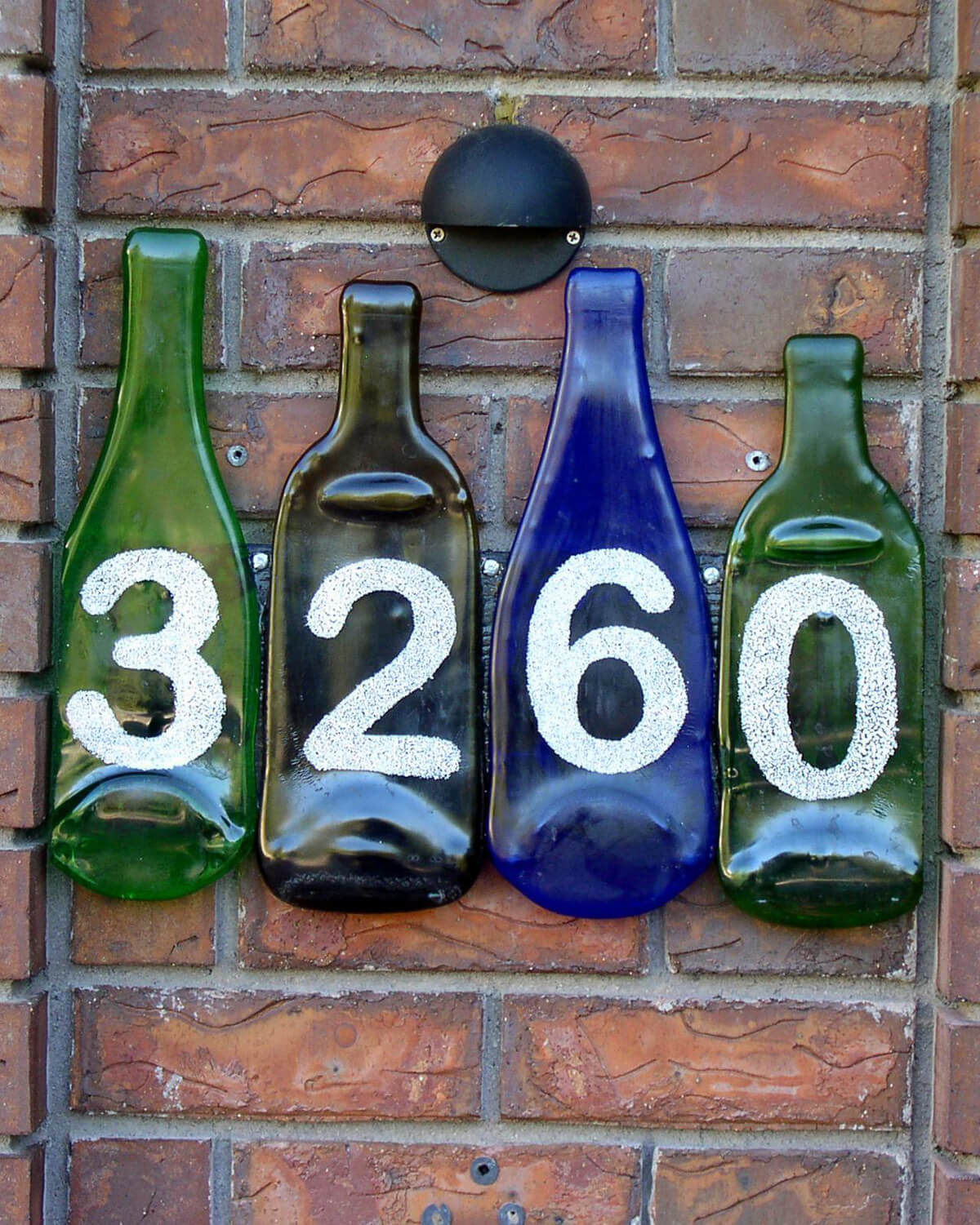 Unique House Number Ideas Using Glass Bottles
