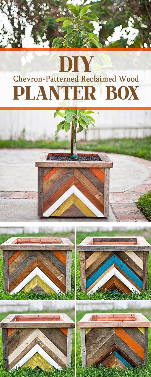 Chevron-Patterned Wooden Piecework Box