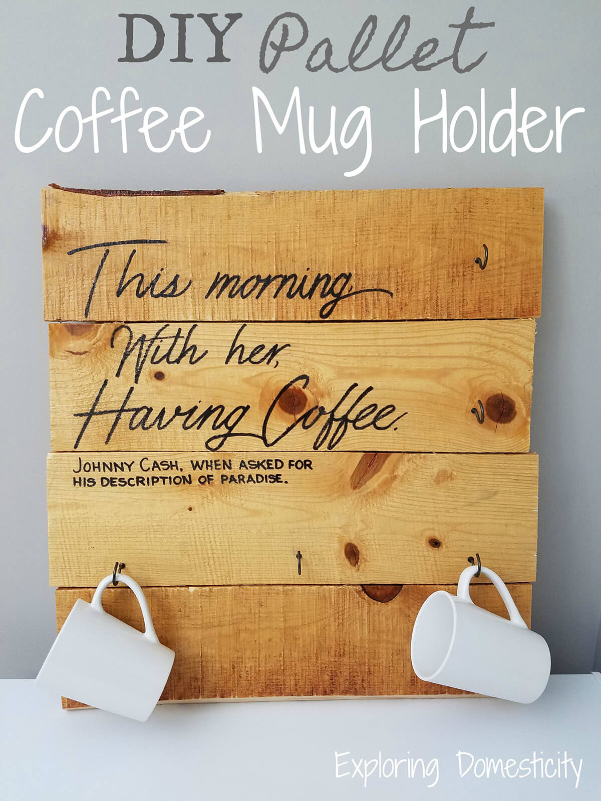 Pallet Coffee Mug Holder with Thoughtful Quote
