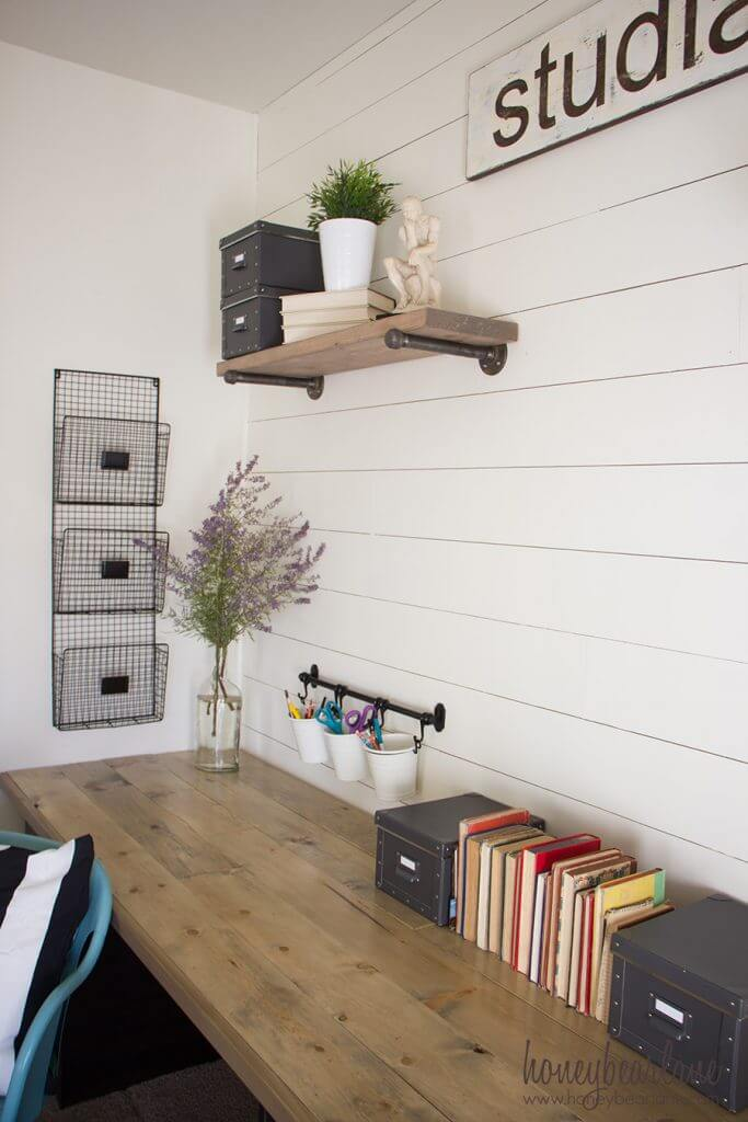 Simple Desk with Ample Wall Storage