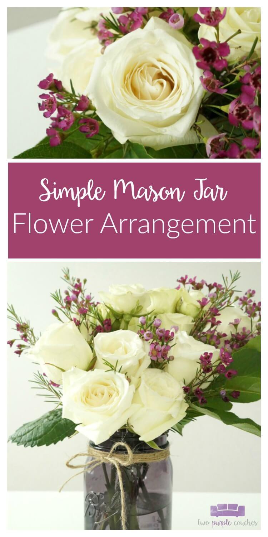 DIY Mason Jar Flower Arrangement with Blooming Roses