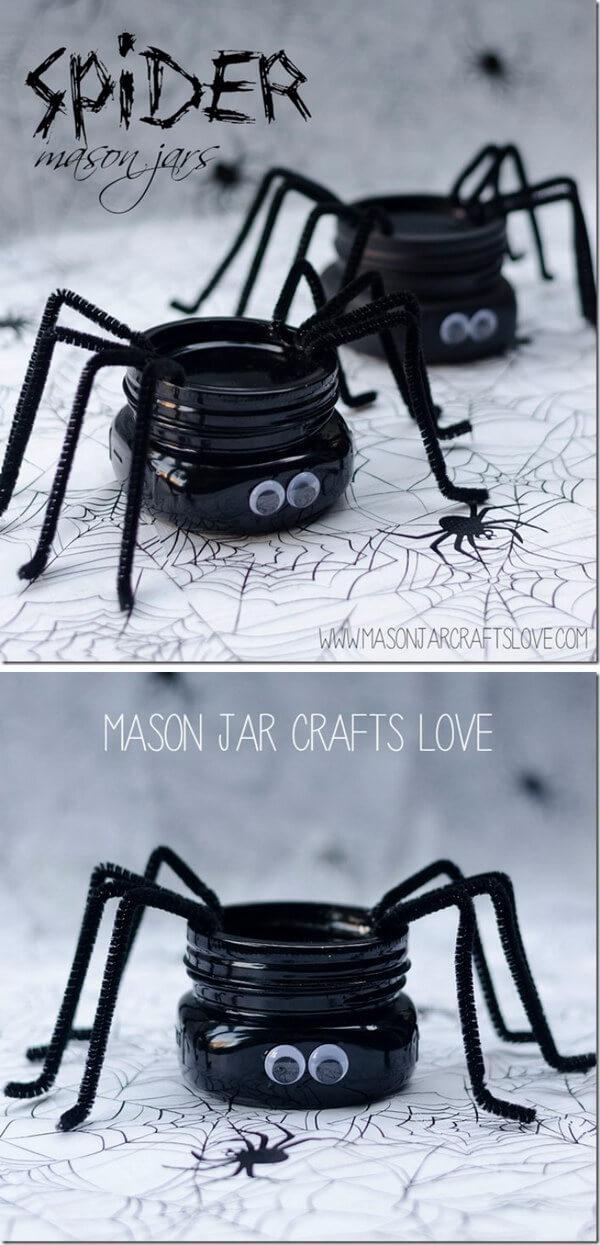 Silly Spider Pipe Cleaner Mason Jar Craft