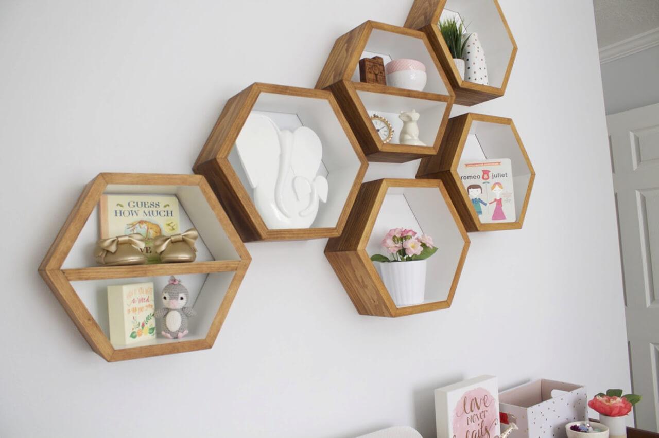 Set of 3 Honeycomb Shaped Shelves