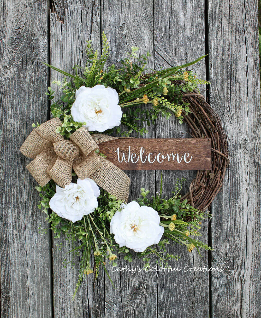 Country Chic Rose Welcome Wreath