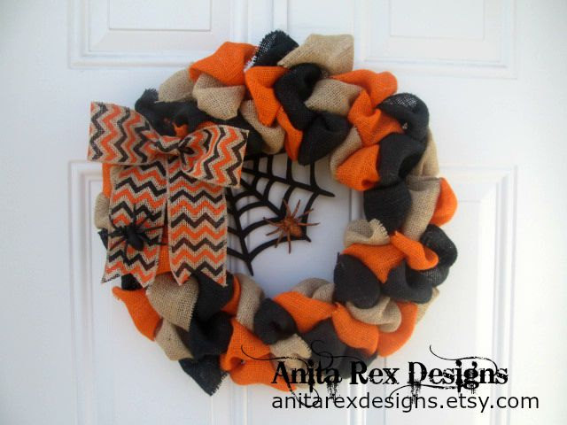 Black, Orange, and Tan Spider Halloween Wreath