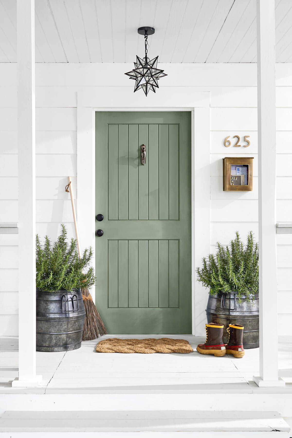 Pastel Green Paneled Front Door