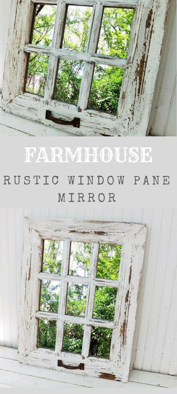 Window Pane Mirror with Distressed Wood