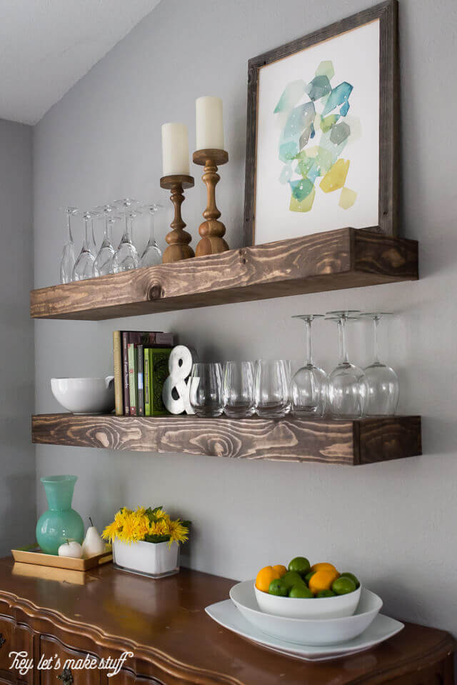 Dark Stained Wall Shelves with Glassware