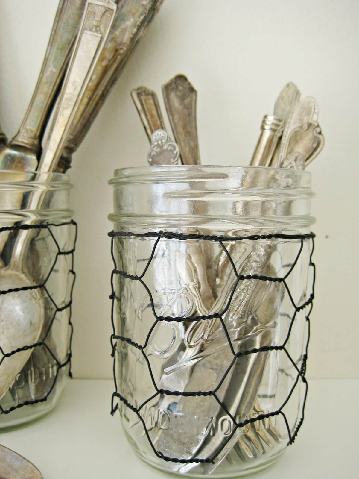 Cover Mason Jars with Chicken Wire