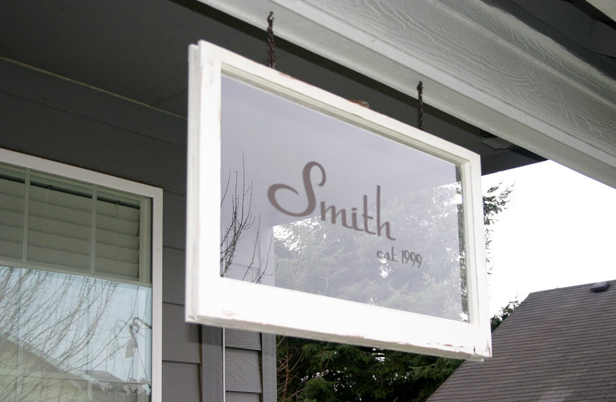 Old Window Outdoor Decor Idea with Names