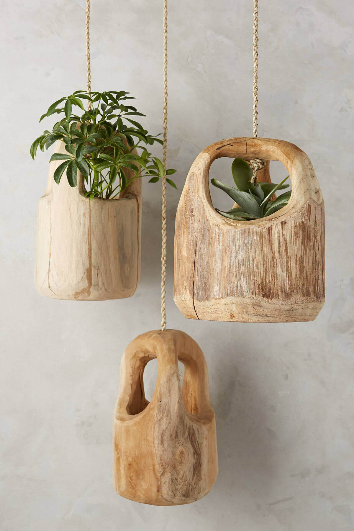 Rustic Carved Wooden Hanging Planters