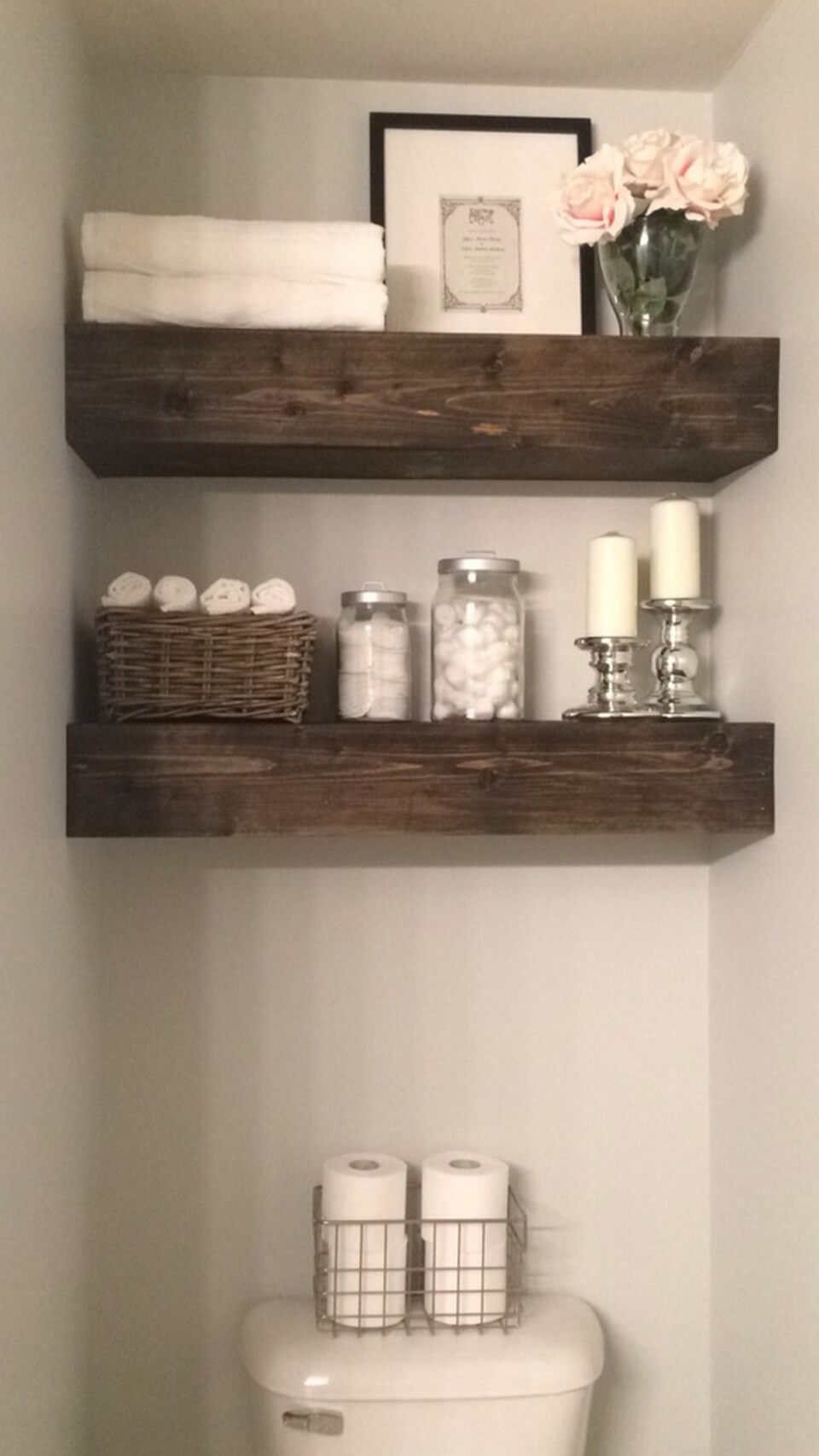 Over The Toilet Wood Shelves