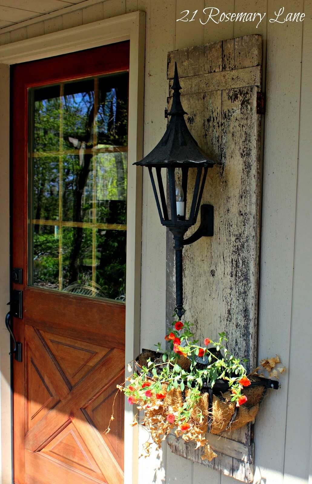 Upcycled Old Door, Lantern, and Planter