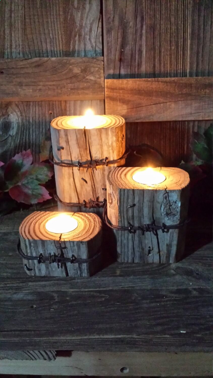 Candle Holders with Barbed Wire