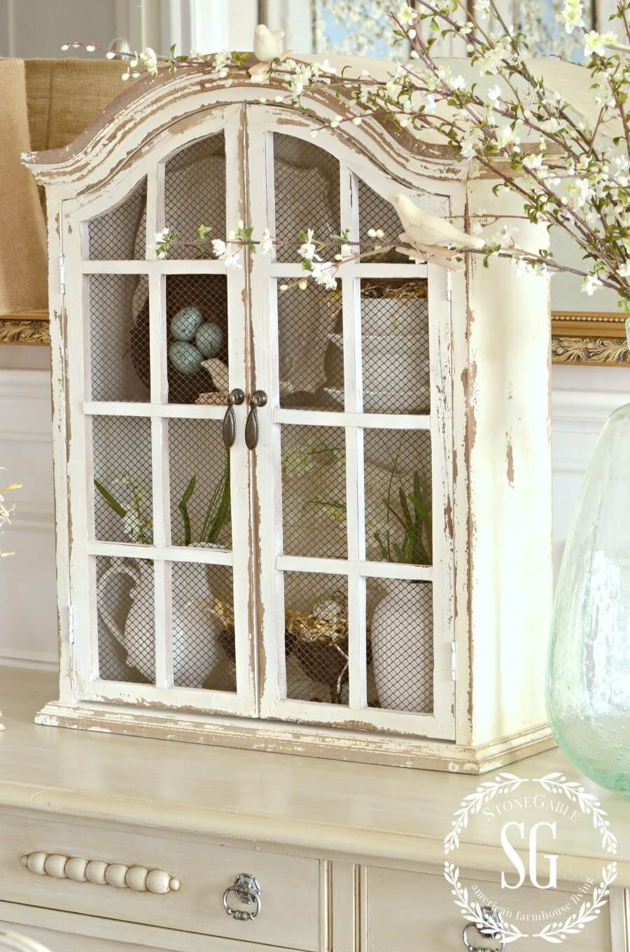 Rustic Cabinet with Flower Arrangements