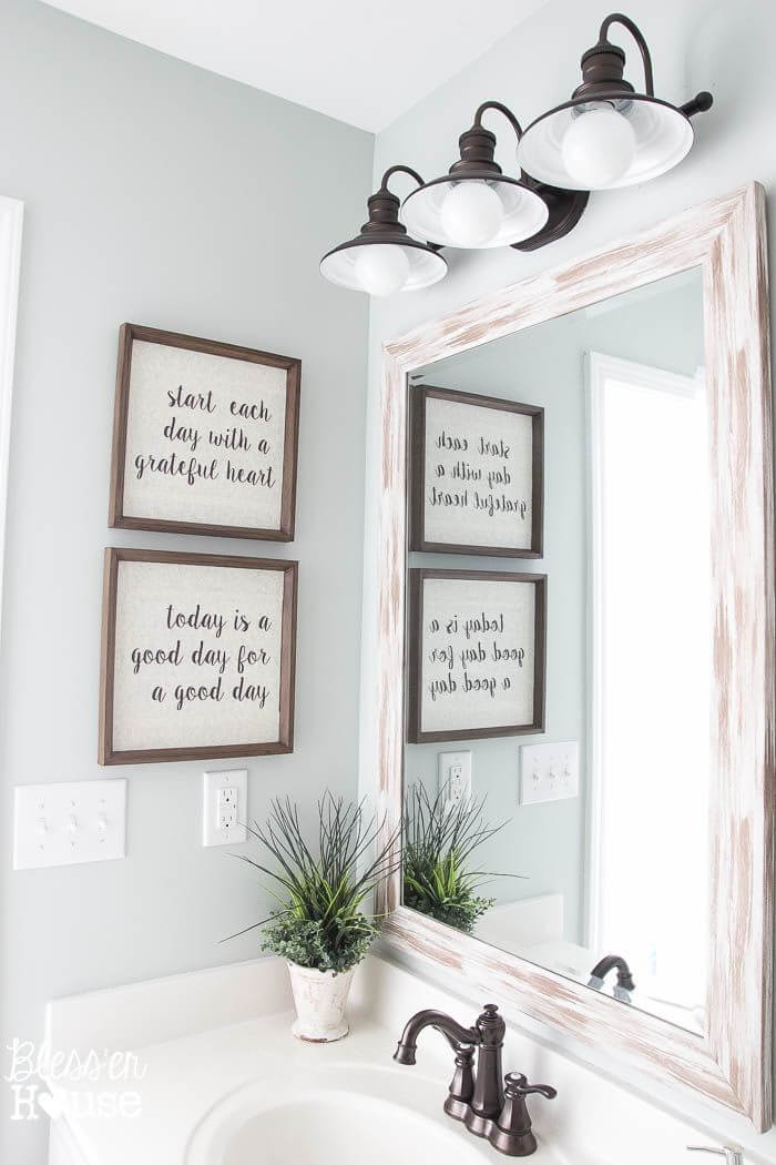 Inspirational Morning Mantra Bathroom Wall Art