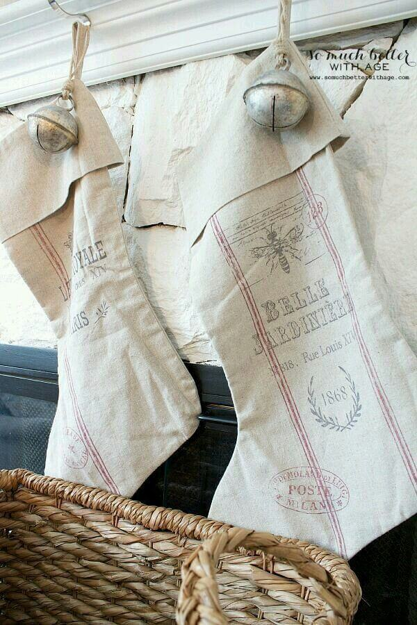 Vintage Look French Feedsack Stockings