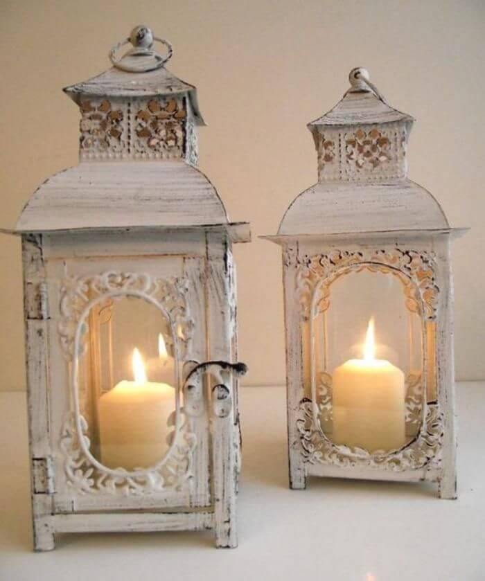 Antique Look Candle Lanterns Decoration