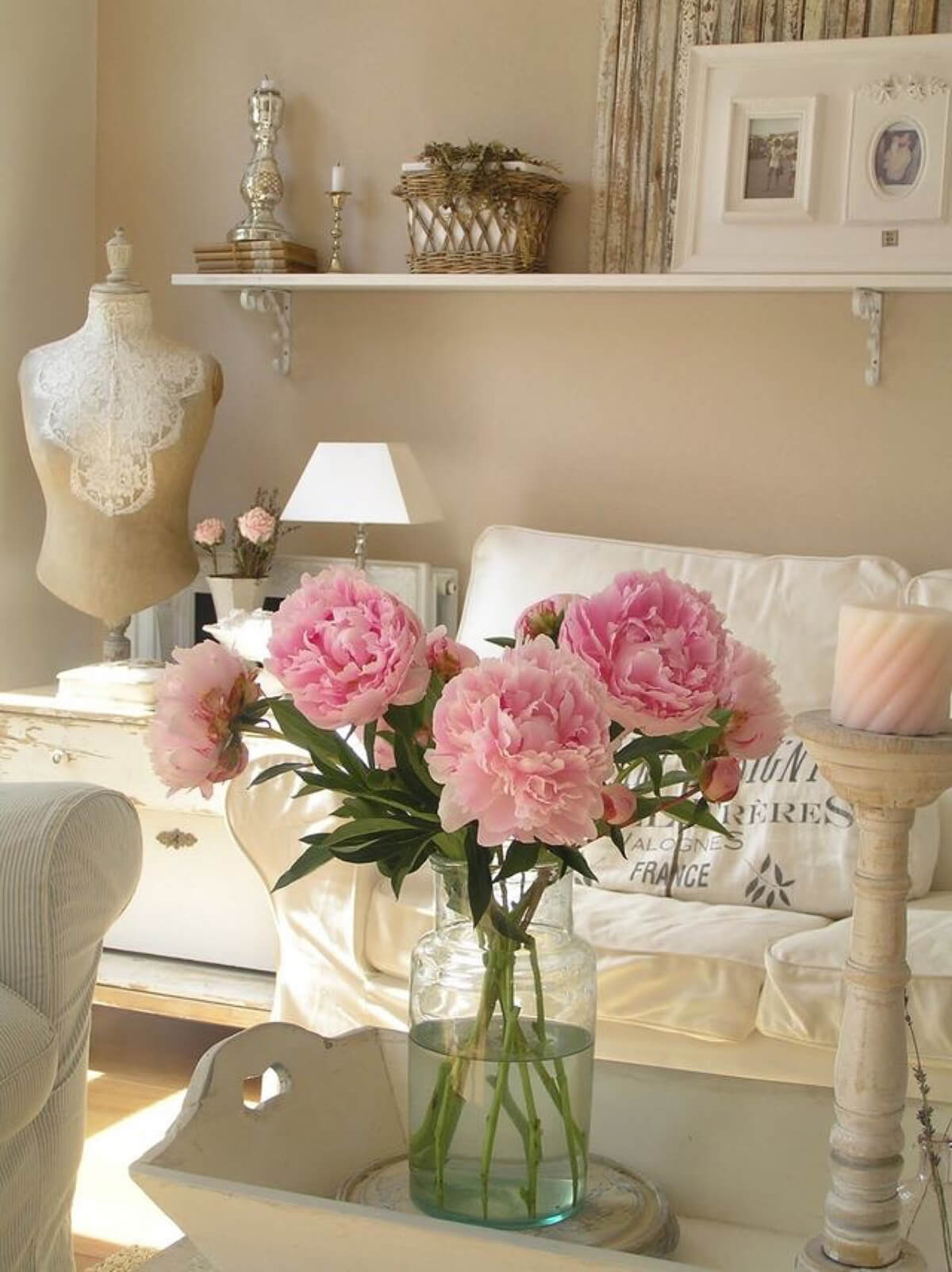 Dainty Arrangement with Pink Peonies