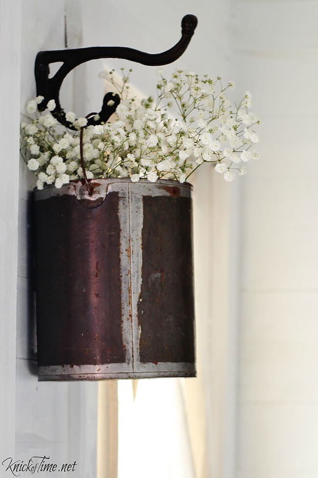 Wall Hook with Old Paint Bucket