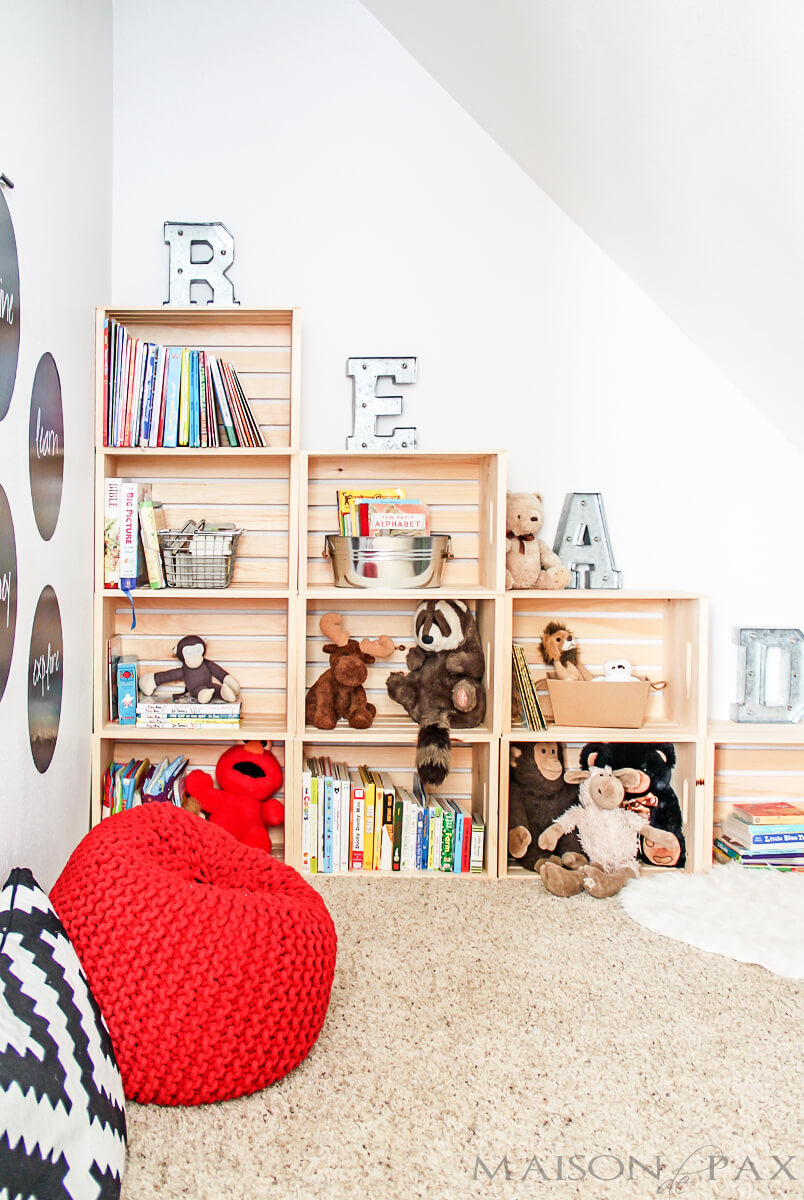 Easy DIY Playroom Stepped Crate Bookshelf