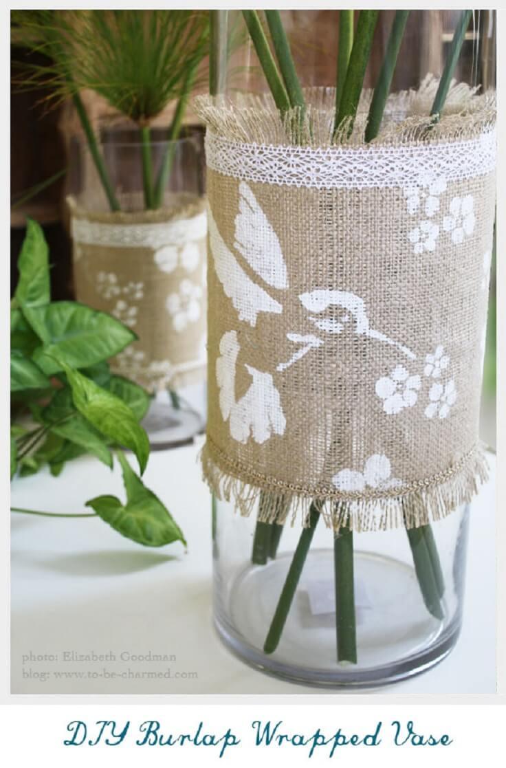 Easy Estate Burlap Wrapped Vase