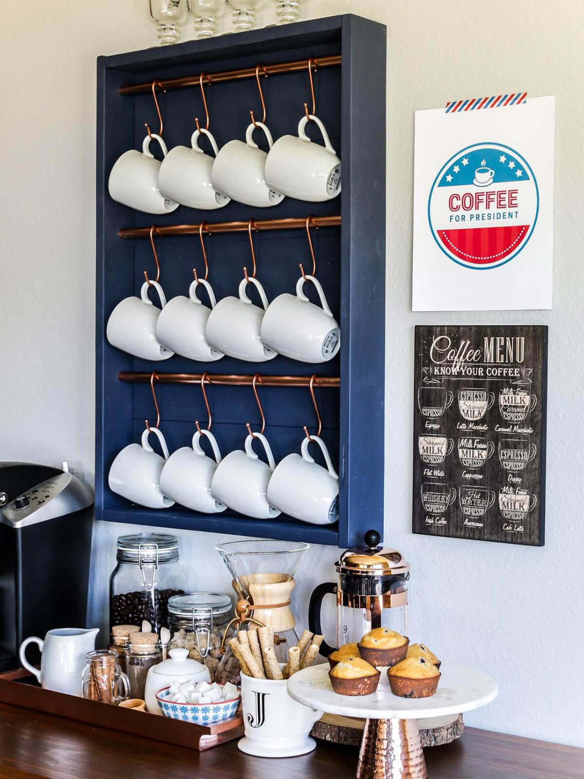Coffee Mug Holder with Graceful S Hooks