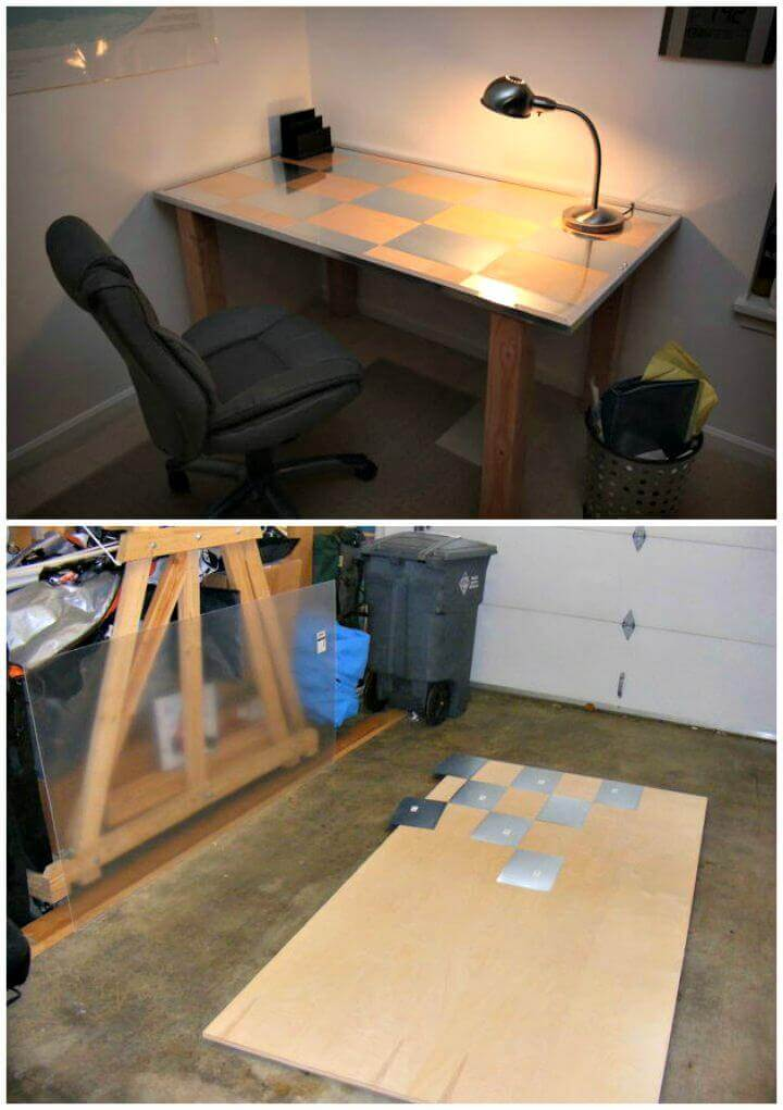 Stylish Desk with Metal Rectangles