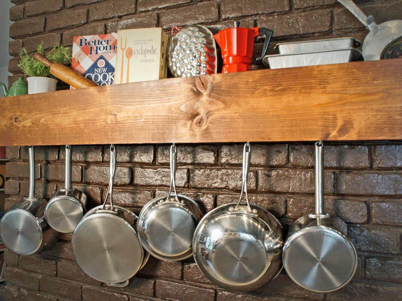 Wooden Wall Shelf with Ledge and Pot Hooks