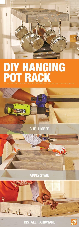 Easy DIY Hanging Pot Rack