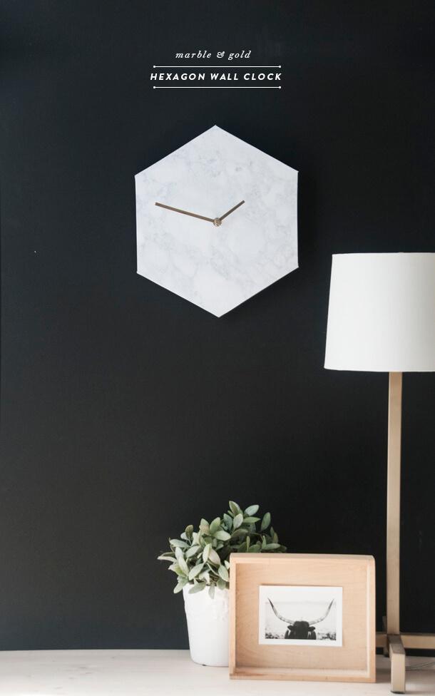 Bright White Modernist Hexagonal Clock