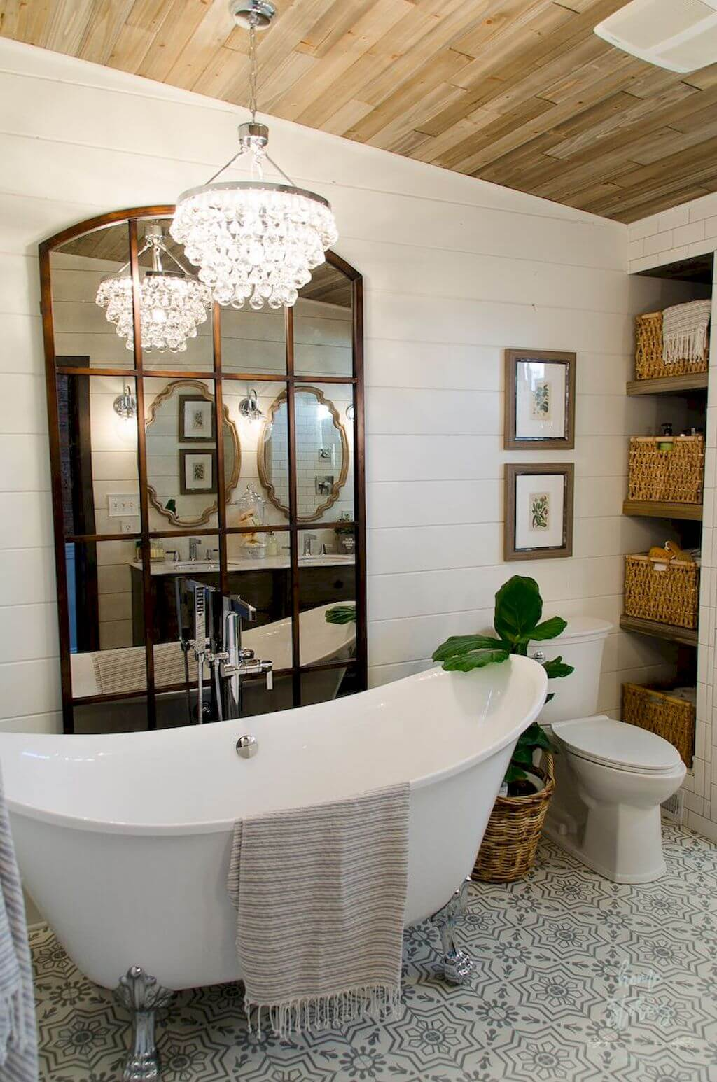 Oversized Mirror by the Bathtub