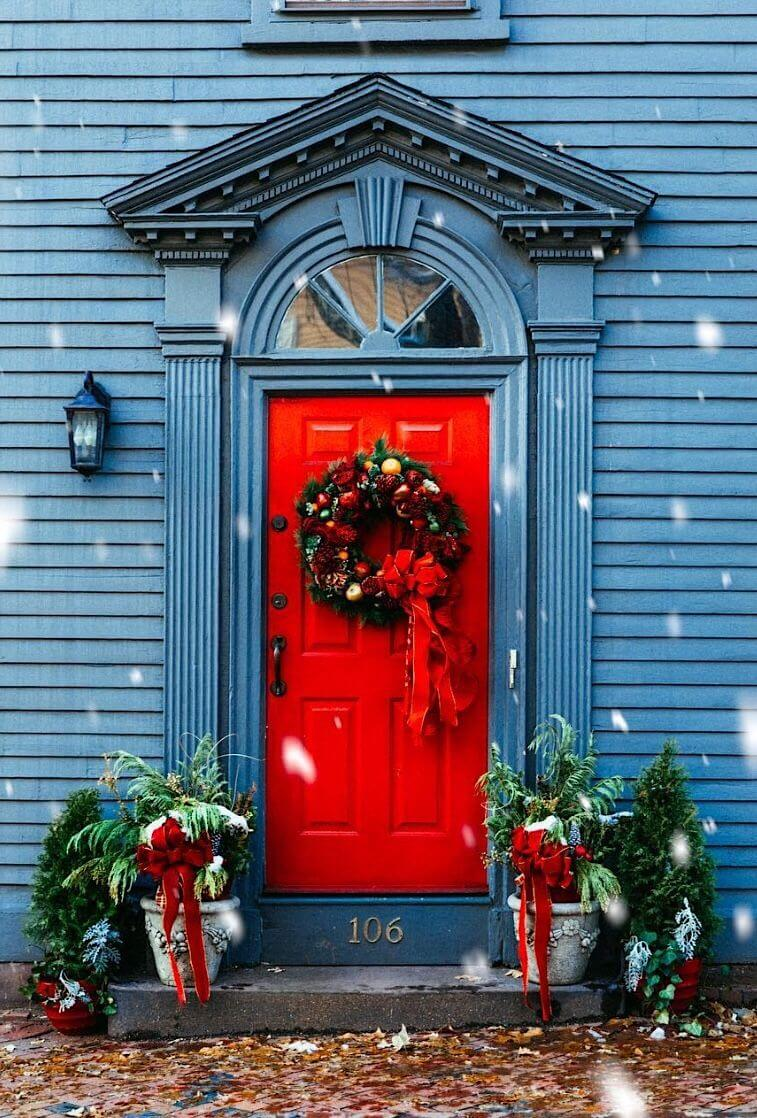 Gorgeous Red Door in Holiday Style