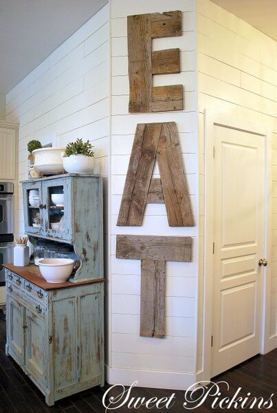"Giant Wooden ""Eat"" Kitchen Sign"