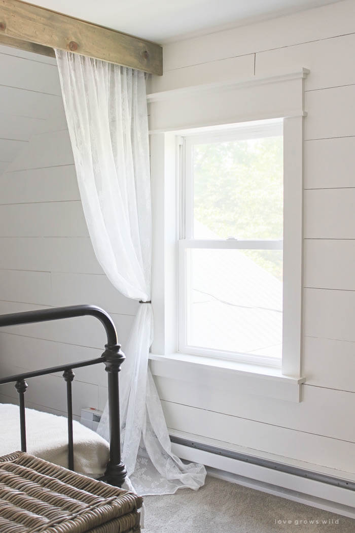 Pretty, Rustic Guest Room Curtain Divider