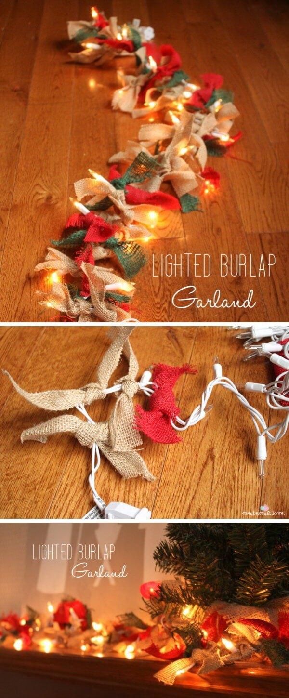 Easy Lighted Burlap Christmas Garland