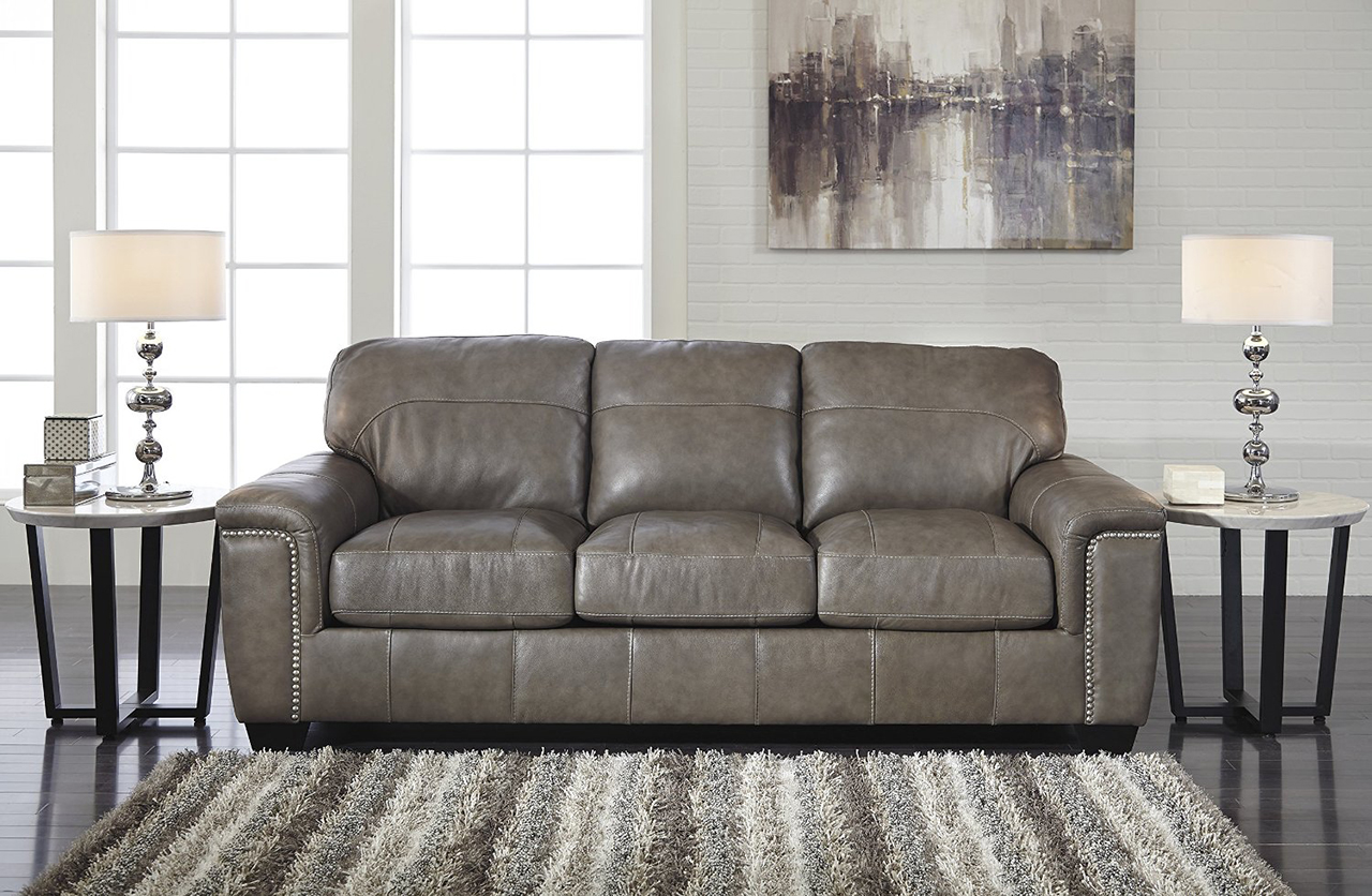 Donnell Granite Color Contemporary Top-grain Leather Queen Sofa Sleeper